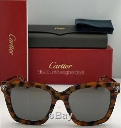 Cartier Lunettes De Soleil Cateye La Havane Silver Frame Temples Gris Miroir Ct0025sa
