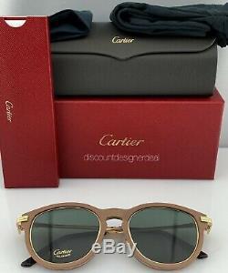 Cartier Lunettes De Soleil Première Brown Bois Or Frame / Vert 001 Polarisants Ct0054s