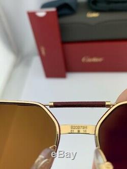 Cartier Lunettes De Soleil Première Ct0053s 001 Or Cuir Rouge Brown Polarized 61