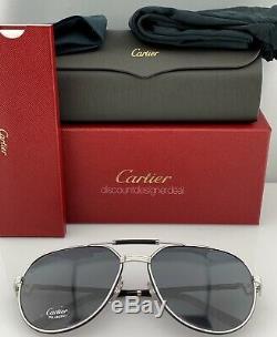 Cartier Lunettes De Soleil Première Ct0053s 002 Cuir Noir Argent Gris Polarisé 61mm