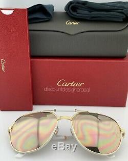 Cartier Lunettes De Soleil Première Ct0053s 003 Blanc Or Cuir Or Polarized 61mm
