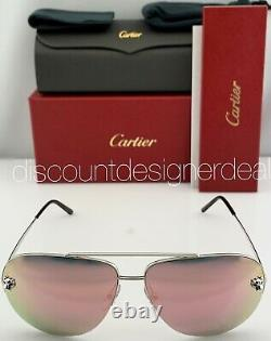 Cartier Panthère Aviator Argent Rose 005 Mirrored Objectif Ct0065s 60mm