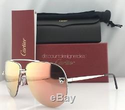 Cartier Panthere Aviator Lunettes De Soleil Pink Mirror Lenses / Silver Metal Esw00175