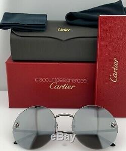 Cartier Panthère Ronde Lunettes De Soleil Gris Argent Titane Miroir 58mm Nouveau