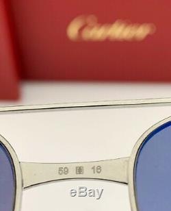 Cartier Santos Aviator Ct0038s 003 Argent Or Argent Miroir 59mm Nouveau