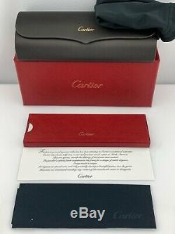Cartier Santos Aviator Lunettes De Soleil D'or Corne De Buffle Gris Polarisants Ct0098s 001