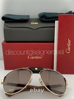 Cartier Santos Aviator Lunettes De Soleil D'or En Bois Brown Polarized Ct0088s 001 61