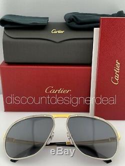 Cartier Santos Aviator Lunettes De Soleil D'or Gris Ruthenium Objectif Ct0035s 001 60mm Nouveau