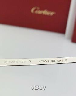 Cartier Santos Aviator Lunettes De Soleil Lentilles Argent Brown Polarisants Ct0034s 010 61mm