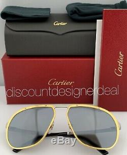 Cartier Santos Aviator Lunettes De Soleil Or Argent Ruthénium Objectif Ct0035s 003 60mm