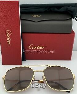 Cartier Santos Horizon Lunettes De Soleil Ct0084s 001 Gold Frame Brown Polarized 60
