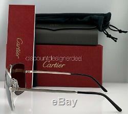 Cartier Santos Horizon Lunettes De Soleil Esw00136 Argent Métal Gris Polarized Nouveau