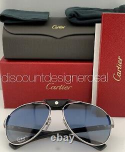 Cartier Santos Lunettes De Soleil Carbon Silver Bois Bleu Polarized Ct0088s 002 61