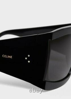 Celine 4s084 Cadre Noir / Gris Lens Surdimensionné Acétate Lunettes De Soleil Carrées% 100 Auth
