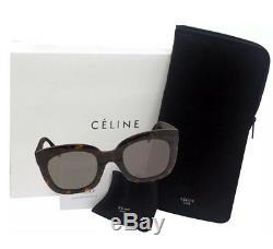Celine CL 41385 / F / S 086 Martha Dark Havana Gris Lentille Mode Pour Femmes Lunettes De Soleil