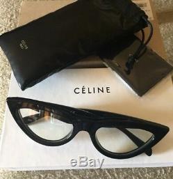 Celine Cl400191 Lunettes De Soleil Black Cat Eye Lentille Claire Jaunâtre Phoebe Philo