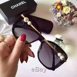 Chanel Ch 5339 Lunettes De Soleil Polarisées Pour Femmes, Noir / Or Nacré, 2018 Été