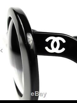 Chanel New Half Tint Lunettes De Soleil Noir Rond Logo CC Bras Ondulé S5018 5018