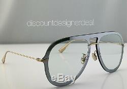Christian Dior Ultime1 Lunettes De Soleil Aviator Vgva9 Silver Frame Lentille Claire 57mm Nouveau