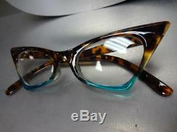 Classic Retro Cat Eye Style Verres Clair Lunettes Eye Lunettes Tortoise & Turquoise