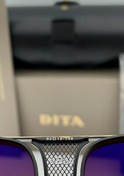 Dita Décennie Deux Lunettes De Soleil Aviator Drx-2082 Noir 18k Or Brun Dégradé 62mm