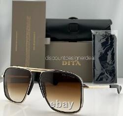 Dita Initiateur Lunettes De Soleil Matte Black Gold Brown Gradient Lens Dts116-58-02 Nouveau