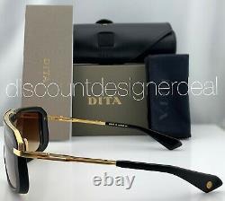 Dita Mach Eight Lunettes De Soleil Dts400-a-01 Matte Black Gold Brown Gradient Lens Nouveau