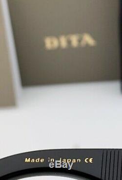 Dita Sekton Lunettes De Soleil Carrées Dts122-53-01 Cadre Noir Or Jaune Gris Lens Nouveau
