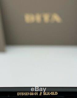 Dita Souliner One Square Lunettes De Soleil Noir 18k Or Gris Dts127-56-01 Marque Nouveau