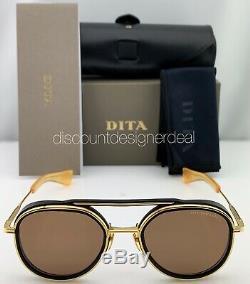 Dita Spatiale Lunettes De Soleil Rondes Noir Mat Cadre Or Jaune Brun Lens Nouveau 52