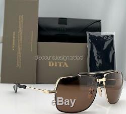 Dita Symeta Type 403 Lunettes De Soleil Aviator Black Gold Brun Lens Dts126-62-02 Nouveau