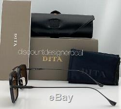 Dita Vol Huit Rect Lunettes De Soleil Noir Mat Bleu Marine Brun Lens Dts134-53-03