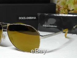 Dolce & Gabbana Dg2144 Lunettes De Soleil À Verres Dorés À Monture Dorée Iridium 61 12 135