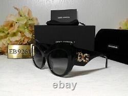 Dolce & Gabbana Dg4321f Jeweled Cat Eye Shiny Black Frame Lunettes De Soleil 55 20 140