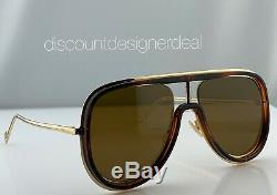 Fendi Lunettes De Soleil Aviateur Ff M0068 / S Gold & Havana Brown Cadre D'objectif 57mm 08670