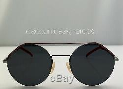 Fendi Lunettes De Soleil Rondes Ff M0042 / S Argent Et Rouge Cadre Gris Lens 010ir 54mm Nouveau