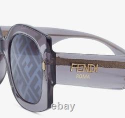 Fendi Roma Ff 0436/g/s Kb7 MD Grey Gold Grey Gradient Ff Logo Femmes Lunettes De Soleil