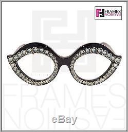 Gucci Crystal Lips Stud 3867 Oeil De Chat Noir Or Cadre Rx Lunettes De Vue Gg3867s