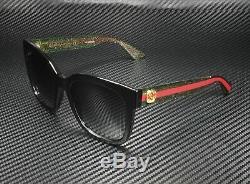 Gucci Gg0034s 002 Rectangulaire Carré Noir Gris 54 MM Lunettes De Soleil Femme