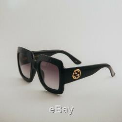 Gucci Gg0053s 001 54mm Oversize Carré Noir Femme Lunettes De Soleil Avec Étui De Velours