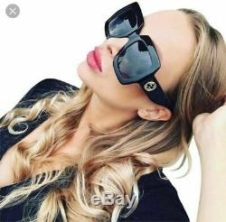 Gucci Gg0053s 001 Black Square Oversize Femmes Lunettes De Soleil Authentique 54mm