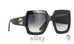 Gucci Gg0053s 001 Noir Cadre Verres Gris Lunettes De Soleil Carrées 54mm