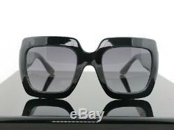 Gucci Gg0053s 001 Noir / Gris Lens Carré Femmes Lunettes De Soleil 100% Uv