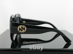 Gucci Gg0053s Noir / Grey Lens Square Femmes Lunettes De Soleil Surdimensionnées 100% Uv