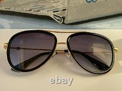 Gucci Gg0062s 011 Lunettes De Soleil Aviateur En Or Noir Grey Lens Unisex Oversize