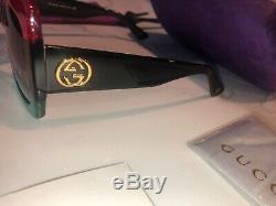Gucci Gg0083s 001 De Lentilles Rouges Noir Gris Grand Carré Aut