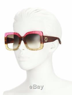 Gucci Gg0083s 002 Lunettes De Soleil Rose Jaune Glitter Cadre Marron 55mm