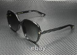Gucci Gg0092s 001 Lunettes De Soleil Carrées Rectangulaires Gris Noir 55 MM Pour Femmes
