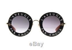 Gucci Gg0113 / S L'aveugle Par Amour Rond En Métal Noir / Or Lunettes De Soleil 100% Auth