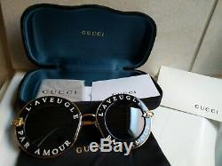 Gucci Gg0113s 001 Black Gold Lunettes De Soleil 44mm L'aveugle Par Amour. Nouveau